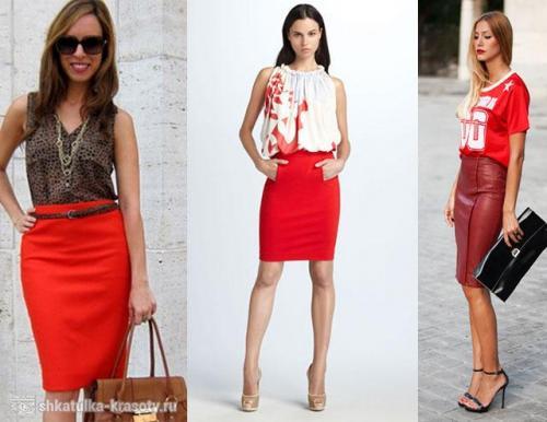 Образ черная юбка красная блузка. С чем можно носить красную юбку, правила сочетания моделей и выбор образа