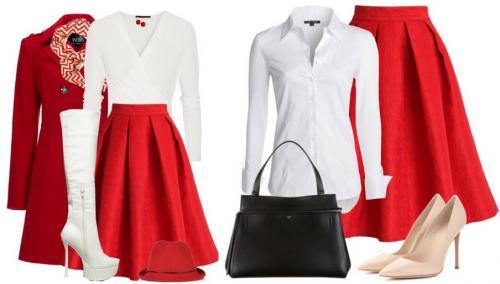 Черная блузка с красной юбкой. Какую блузку надеть с красной юбкой