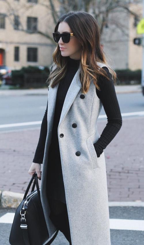 С чем носить удлиненный жилет белый. С чем носить удлиненный жилет зимой 2020 фото модные луки