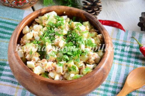 ПП салат с тунцом и огурцом и яйцом. Рецепт 6, простой: салат из тунца с огурцами (пошаговые фото)