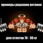 Примеры рационов питания на день для атлетов 70- 90 кг.