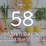 58 продуктов и блюд для правильного питания.